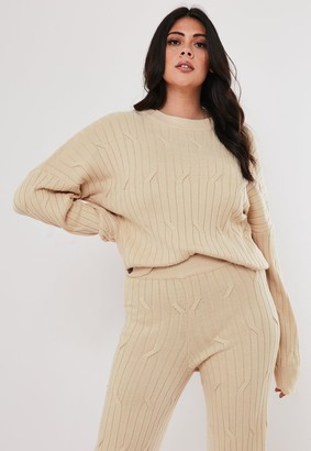 Missguided Plus Size Beige Co Ord Cable Knit Jumper