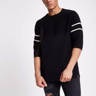 River Island Only and Sons black short sleeve knit sweater