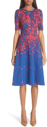 Carolina Herrera Floral Print Neoprene Dress