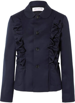 Comme des Garcons Ruffled Wool-twill Jacket - Navy