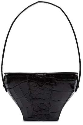 Staud Alice Black Crocodile-Effect Bag