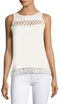 Elie Tahari Women's Raya Fringed Sleeveless Sweater