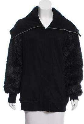 Aiko Faux Fur-Accented Lightweight Jacket