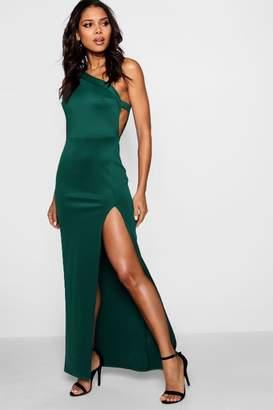 boohoo One Shoulder Split Leg Maxi Dress