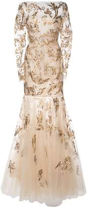 Oscar de la Renta hand painted swirl embroidered gown