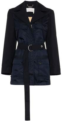 Chloé four pocket belted virgin wool blend utility jacket