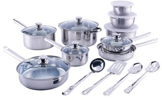 Mainstays 18-Piece Cookware Set, Stainless Steel