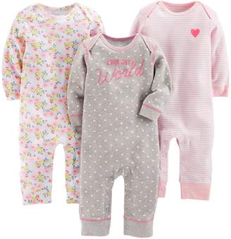 Carter's Simple Joys By Simple Joys by Baby Girls' 3-Pack Jumpsuits