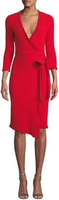 Milly Ruffled-Edge 3/4-Sleeve Wrap Dress