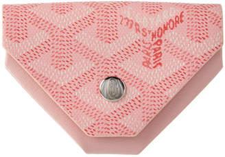 Goyard Pink Goyardine Canvas & Leather Triangle Coin Pouch