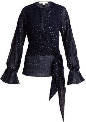 Jonathan Simkhai Tie Front Blouse - Womens - Navy Silver