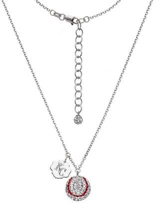 Kansas City Royals Crystal Sterling Silver Baseball & Logo Charm Necklace
