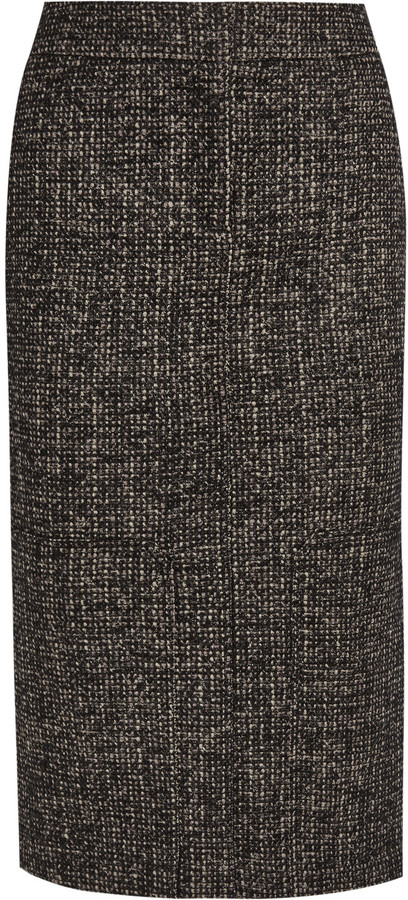 TOM FORD Zip-embellished wool-blend tweed pencil skirt
