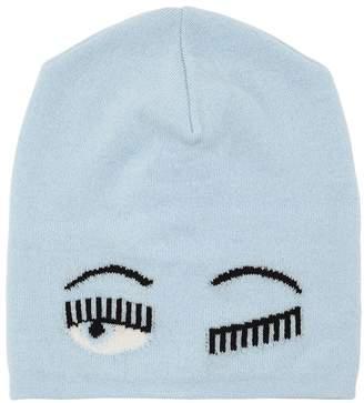 Chiara Ferragni Eye Intarsia Wool Blend Knit Beanie Hat