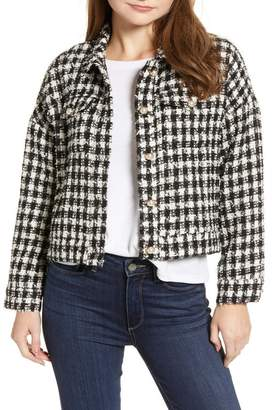 Cupcakes And Cashmere Plaid Tweed Crop Jacket