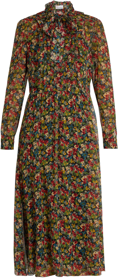 RED ValentinoREDVALENTINO Floral-print long-sleeved silk-crépon dress