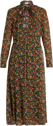 REDVALENTINO Floral-print long-sleeved silk-crépon dress $1,650 thestylecure.com