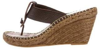 Burberry Leather Thong Espadrille Wedges