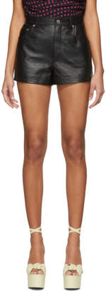 Saint Laurent Black Leather High-Waisted Shorts