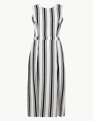 Marks and Spencer Striped Waisted Midi Dress