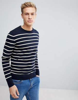 Jack and Jones Originals Stripe Crew Neck Knit