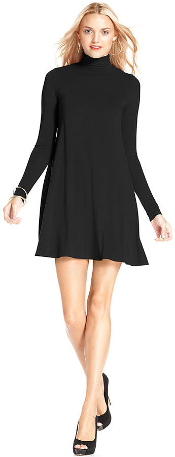 BCBGMAXAZRIA Dress, Long-Sleeve Turtleneck A-Line