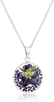Sterling Silver Pressed Flower Round Pendant Necklace
