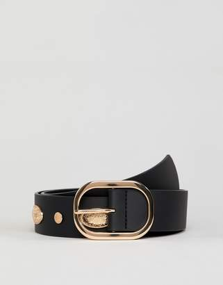 Asos DESIGN faux leather wide belt in black with gold studding