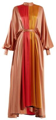 Roksanda Samia Panelled Silk Maxi Dress - Womens - Pink Multi