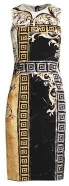 Versace Marble Barocco Print Sheath Dress