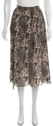 Haute Hippie Silk Camouflage Midi Skirt w/ Tags