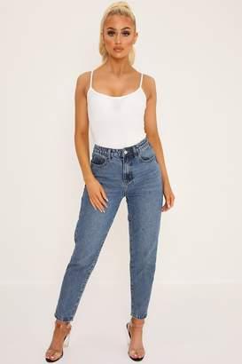 I SAW IT FIRST Mid Blue High Rise Raw Hem Mom Jeans