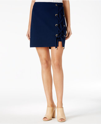 kensie Lace-Up Hardware-Detail Skirt $59 thestylecure.com