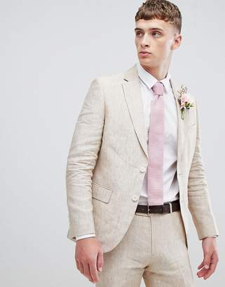 Moss Bros skinny suit jacket in cream linen