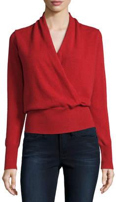 Neiman Marcus Cashmere Faux-Wrap Sweater