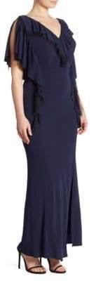 ABS by Allen Schwartz Matte Jersey Ruffle Gown