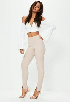 Missguided Tall Exclusive Nude Skinny Fit Trousers, Taupe