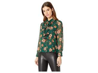 J.o.a. Floral Blouse with Bow and Ruffle Detail