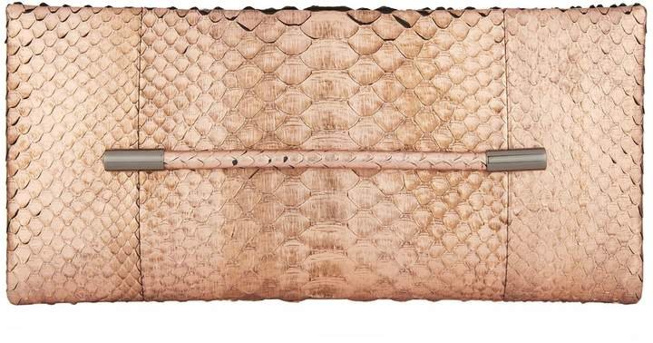 TOM FORD Eve Bar Python Clutch, Pink, One Size