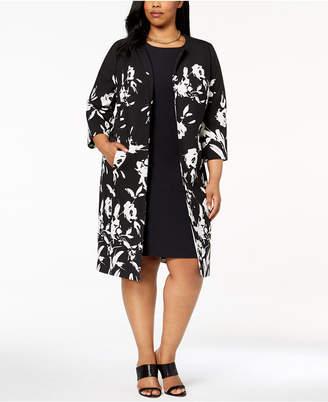 Kasper Plus Size Floral-Print Topper Jacket