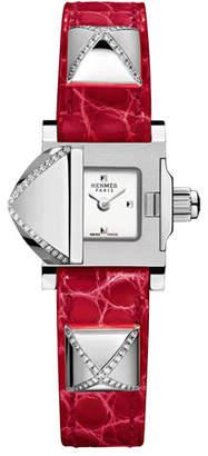 Hermes Medor Mini Watch with Diamonds & Red Alligator Strap
