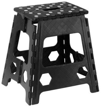 "Superio Folding Step Stool with Anti-Slip Surface 15"" (Black)"