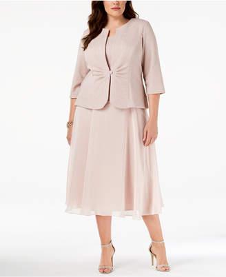 Alex Evenings Plus Size Midi Dress & Shimmer Jacket