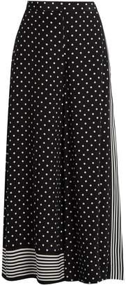Stella McCartney Polka-dot print wide-leg silk-crepe trousers