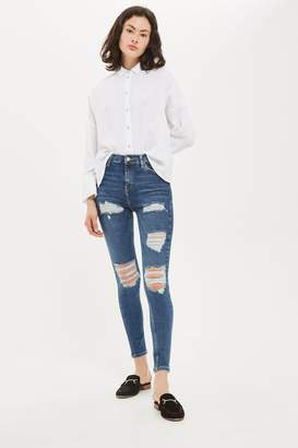 Topshop Womens Indigo Super Ripped Jamie Jeans - Indigo