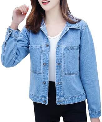 XQS Women's Short Denim Jacket Button Long Sleeves Jean Jacket XL