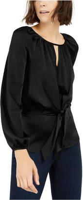 INC International Concepts Inc Pebbled Satin Tie-Front Blouse
