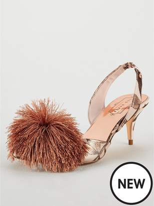 Ted Baker Mikali Pom Pom Heeled Shoe - Nude