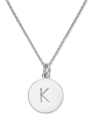 "Kate Spade Silver-Tone Disc Initials 18"" Pendant Necklace"