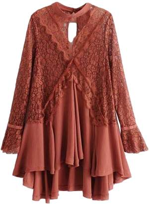 Goodnight Macaroon 'Merle' Frilly Lace Crochet Tunic Dress (3 Colors)